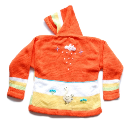 Oranžový dětský svetr s kapucou na zip s dlouhými rukávy. Svetr má výšivky se sluníčkem a čtyřmi zvířátky na přední straně. Je určený pro děti ve věku 3-5 let, kolem 100 cm vysokých.